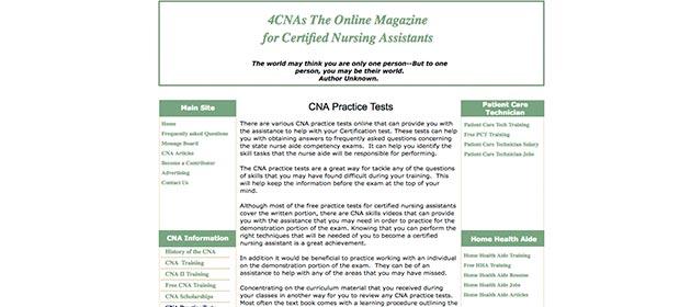 4CNAs practice exam webpage