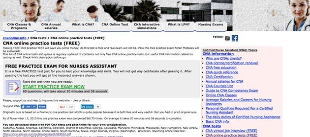 CNA Online practice exam webpage