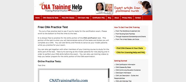 CNA Training Help practice exam webpage
