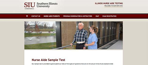 Southern Illinois University CNA practice exam webpage